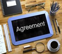 Agreement on Small Chalkboard. 3D Stock Illustration