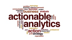 Actionable analytics animated word cloud, text design animation. Stock Footage