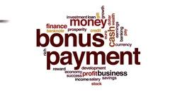 Bonus payment animated word cloud, text design animation. Stock Footage