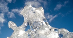 Epic Ice Formation Dynamic Tilt Down to Tunnel Sunflare Scenic Stock Footage
