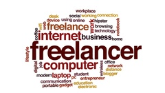 Freelancer animated word cloud, text design animation. Stock Footage