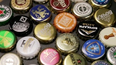 Background of beer bottle caps Stock Footage
