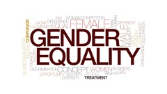 Gender equality animated word cloud, text animation. Kinetic typography. Stock Footage