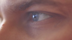 Close up of mans blue eye looking on computers monitor surfing internet. HD Stock Footage