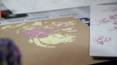 Process of decor paper by paint. Creative studio. Stock Footage