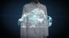 Female researcher, Engineer touched, Numerous dots gather to create a Cloud sign Stock Footage