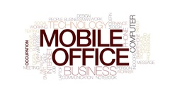 Mobile office animated word cloud, text design animation. Kinetic typography. Stock Footage