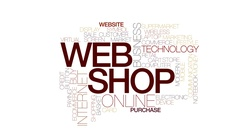Web shop animated word cloud, text design animation. Kinetic typography. Stock Footage