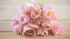 Light pink tulips on a wood background. Stock Footage