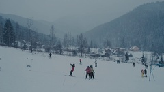 Mountains ski resort - nature and sport background Stock Footage