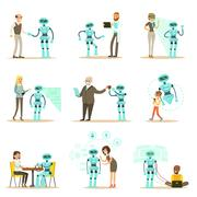 Smiling People And Robot Assistant, Set Of Characters And Service Android Stock Illustration