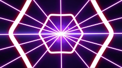 Laser abstracts futuristic Background. Neon lights vintage Hexa tunnel loop. Stock Footage