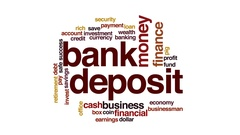 Bank deposit animated word cloud, text design animation. Stock Footage