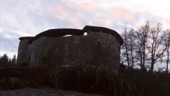 Zooming timelapse of Raasepori medieval castle, fortress ruins, at a cloudy.. Stock Footage
