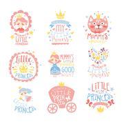 Little Princess Set Of Prints For Infant Girls Room Or Clothing Design Templates Stock Illustration