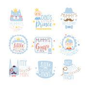 Little Prince Set Of Prints For Infant Boy Room Or Clothing Design Templates In Stock Illustration