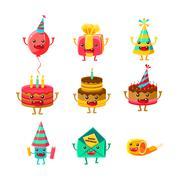 Happy Birthday And Celebration Party Symbols Cartoon Characters Set, Including Piirros
