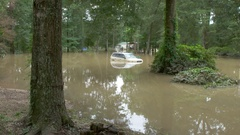 Flooded car and mobile home in Louisiana after a flood Stock Footage