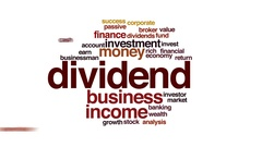 Dividend management animated word cloud, text design animation. Stock Footage