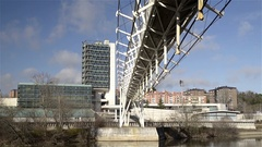 View of the Science Museum on the banks of the River Duero in Valladolid, Spain Stock Footage