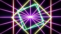 Laser abstracts futuristic Background. Neon lights vintage squares tunnel Stock Footage