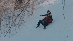 Fall down in the snow Stock Footage