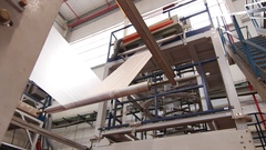 Plastic bags conversion machine in a factory Stock Footage