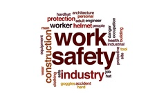 Work safety animated word cloud, text design animation. Stock Footage