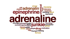 Adrenaline animated word cloud, text design animation. Stock Footage