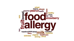 Food allergy animated word cloud, text design animation. Stock Footage