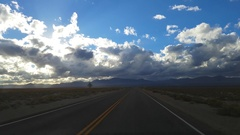 Driving desert road on route 95, on a november evening, in Nevada, United s.. Stock Footage