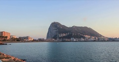 Zoom in view on Gibraltar rock from La Linea Stock Footage