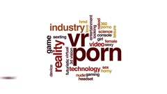 VR porn animated word cloud, text design animation. Stock Footage