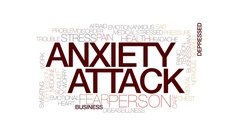 Anxiety attack animated word cloud, text animation. Kinetic typography. Stock Footage