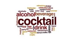 Cocktail animated word cloud, text design animation. Stock Footage
