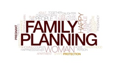 Family planning animated word cloud, text animation. Kinetic typography. Arkistovideo