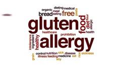 Gluten allergy animated word cloud, text design animation. Stock Footage