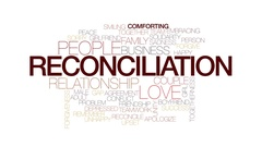 Reconciliation animated word cloud, text design animation. Kinetic typography. Stock Footage