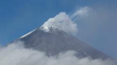 Eruption of Klyuchevskoy Volcano (Klyuchevskaya Sopka) in Kamchatka Peninsula Stock Footage