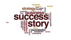 Success story animated word cloud, text design animation. Stock Footage