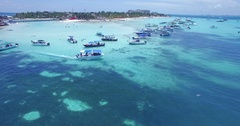 Many boats enjoy the calm clear waters off of Isla Mujeres, Quintana Roo, Mexico Stock Footage