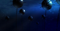 An underwater shot of CG animated World War 2 Submarine Mines Stock Footage