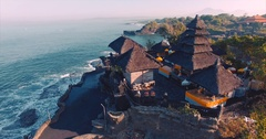 Pura Tanah Lot temple on a rocky island. A cultural symbol of Indonesia Stock Footage