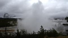 Timelapse of a field full of smoking geysers, at norris geyser basin, in Ye.. Stock Footage