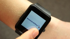 Using A Smart Watch Device. World's Top Airlines Stock Footage