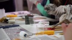 Creative process of artists handmade design studio. Stock Footage