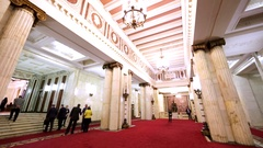 Interior of hall in Moscow State University (Russia). Columns, carpets, lustres Stock Footage