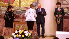 Ceremony of award professors of Moscow State University during Students Day Stock Footage