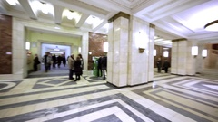 Panoramic view of hall in MGU. Marble columns, staircases and floor, chandeliers Stock Footage
