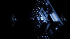 Rotating vertical small PCB with SMD components.  Stock Footage
